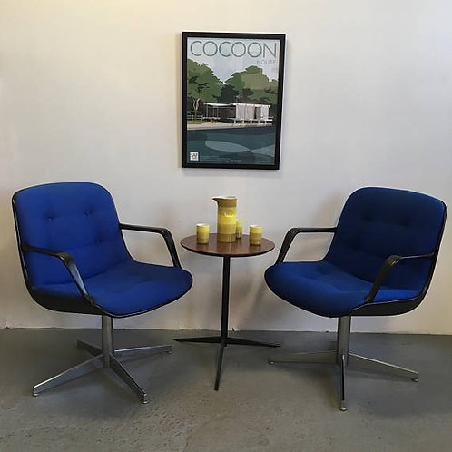 Pair of vintage blue Steelcase chairs
