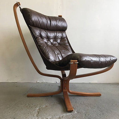 Sigurd Ressell Falcon Chair Brown Leather by Scanform