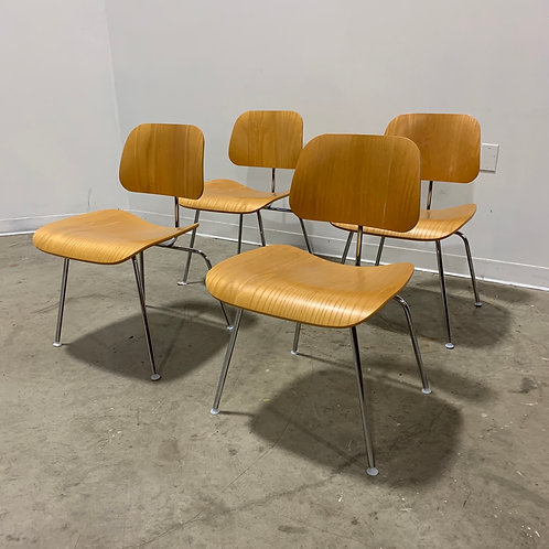 4 Eames Ash DCM chairs by Herman Miller