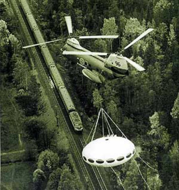 Futuro House moved by helicopter