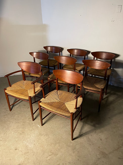 8 Danish Teak and Cord Dining Chairs by Hvidt and Molgaard