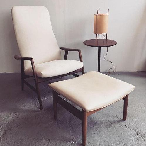 Alf Svensson Danish reclining lounge chair with ottoman.