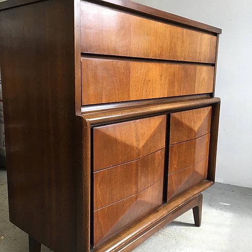 mid century dresser, mid century hi boy, diamond front dresser, united dresser