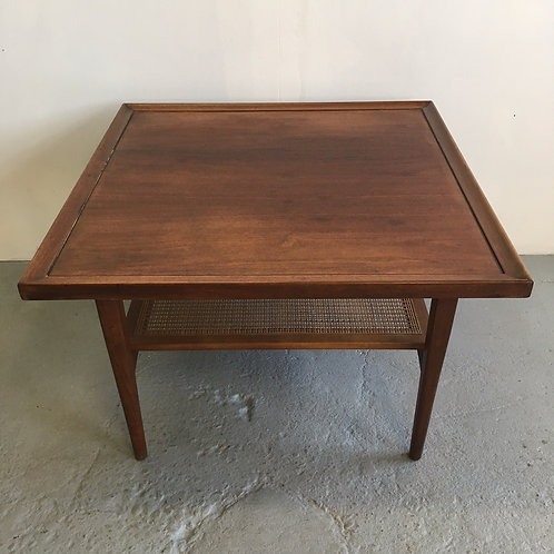 Drexel Declaration cane shelf walnut tables by Kip Stewart
