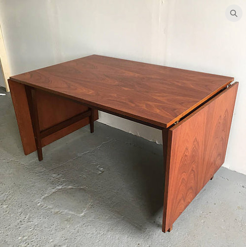 drop leaf mid century modern dining table