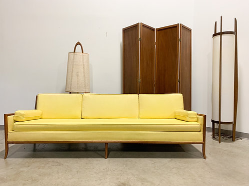 Mid century modern walnut and cane sofa