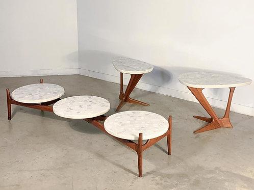 Harvey Probber style Terrazzo and Walnut table set