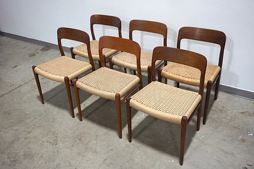6 Moller 75 Vintage Danish cord dining chairs