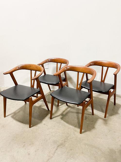Danish teak dining chairs by Tobjorn Afdal