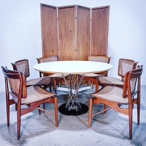 6 Finn Juhl for Baker walnut and Cane Dining chairs