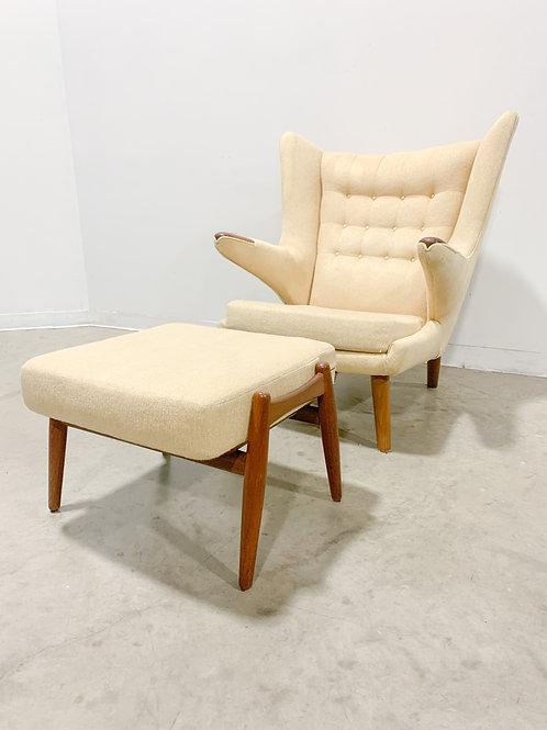 Authentic Hans Wegner AP 19 Papa Bear Chair and 'Cigar' Ottoman