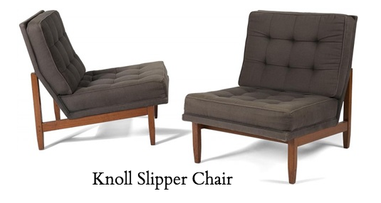 Florence Knoll tufted slipper chair