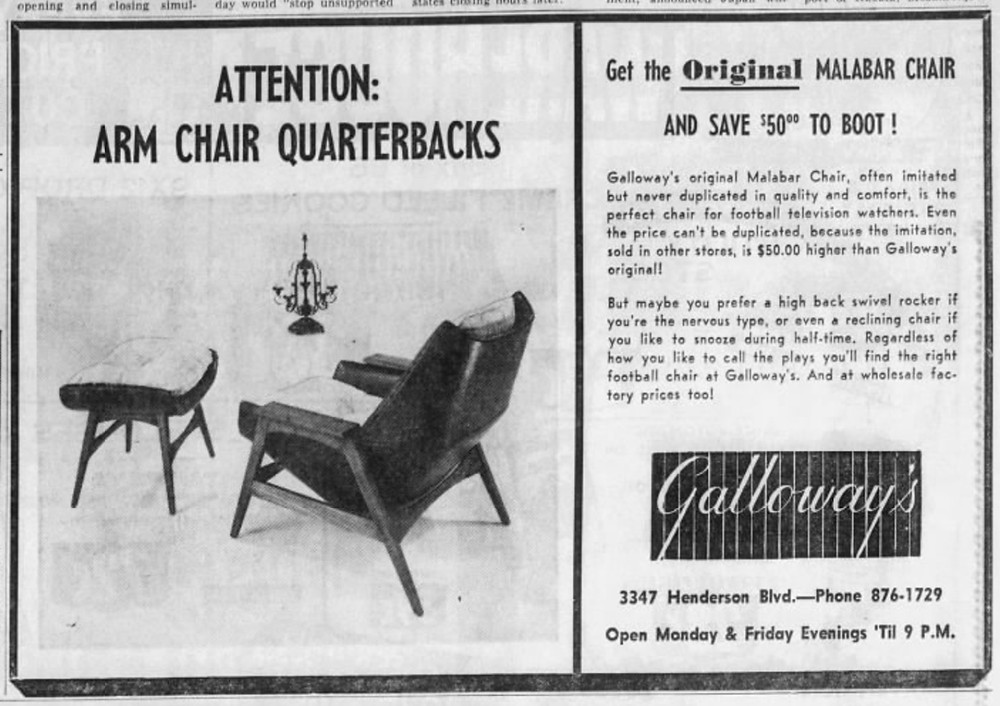 Galloway's original chair design advertisement