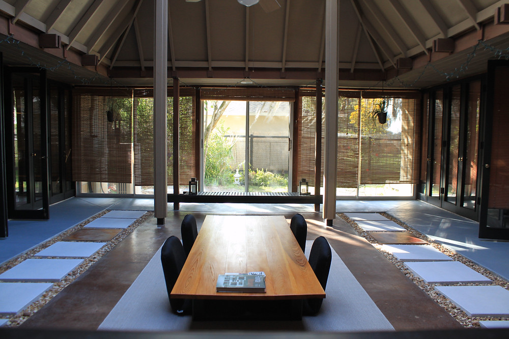 japanese modern table, post and beam architecture