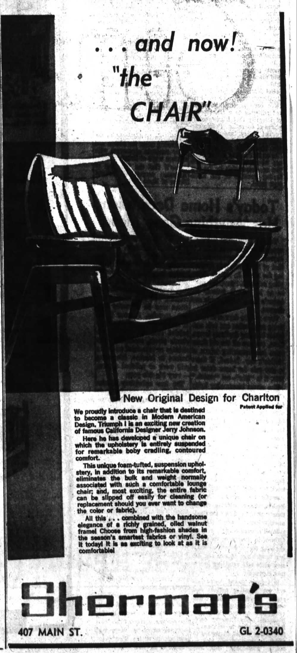 Jerry Johnson Sling Chair vintage ad