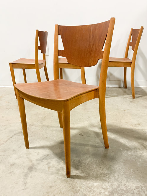 Rare Hvidt & Molgaard Plywood dining chairs for CM Madsen