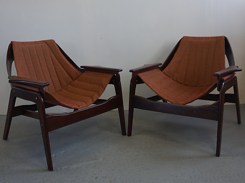 Pair of mid century Jerry Johnson sling chairs