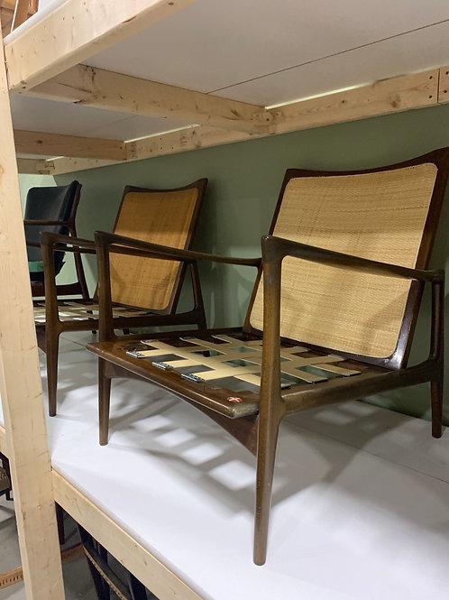 Pair of Kofod Larsen cane back lounge chairs