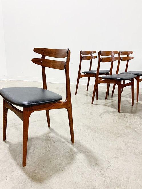 4 Bow Backed Teak dining chairs