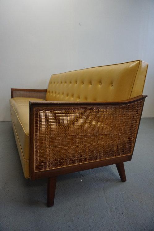 Walnut and cane mid century modern sofa