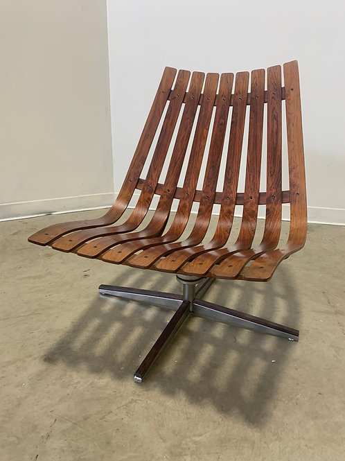 Rosewood Hans Brattrud swivel lounge chair with return