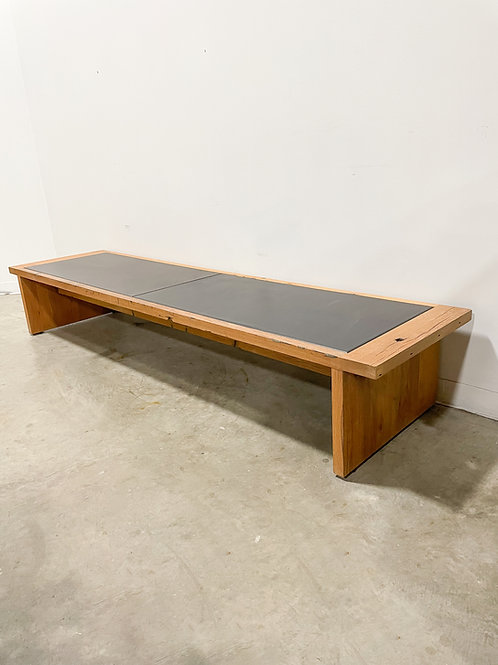 Large contemporary reclaimed oak and leather bench