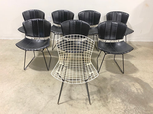 Vintage Knoll Bertoia Chairs with black covers