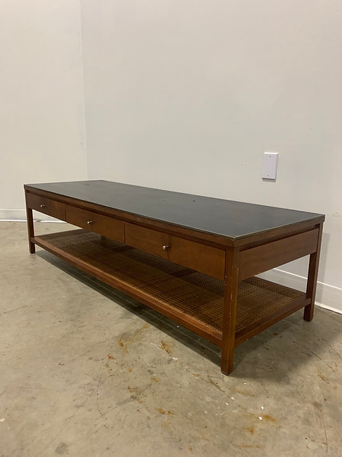 Paul McCobb Calvin Leather Top coffee table with cane shelf