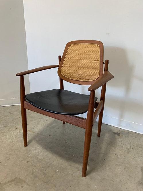 Arne Vodder Teak and Cane back armchair