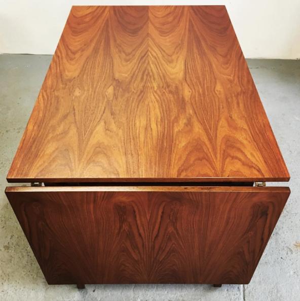 drop leaf mid century dining table
