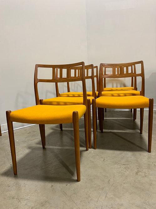 6 Teak Niels Moller model 79 dining chairs