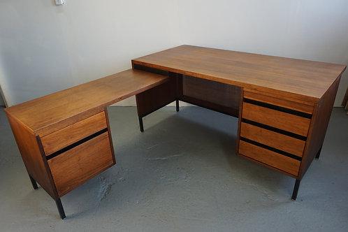 Knoll style Walnut and Cane Executive Desk