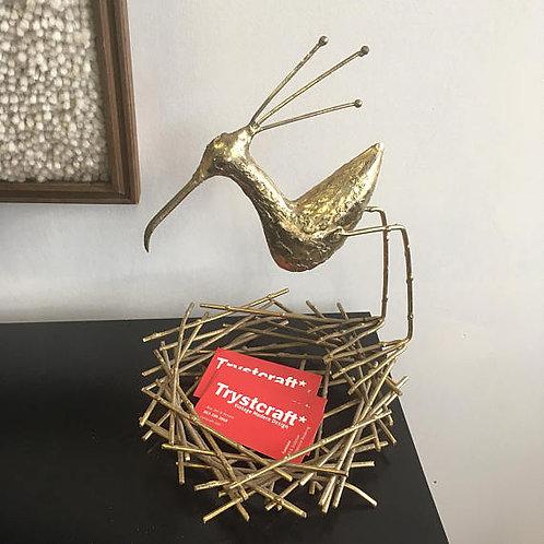 Curtis Jere nesting sandpiper brass sculpture