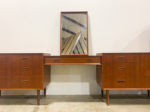 Danish teak dresser and vanity set by Lyby Mobler