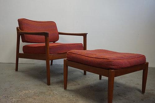 Folke Ohlsson Dux Teak Lounge Chair + Ottoman