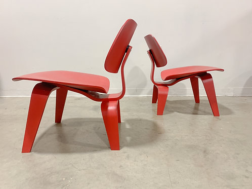 Eames LCW Red Aniline Plywood Lounge Chairs