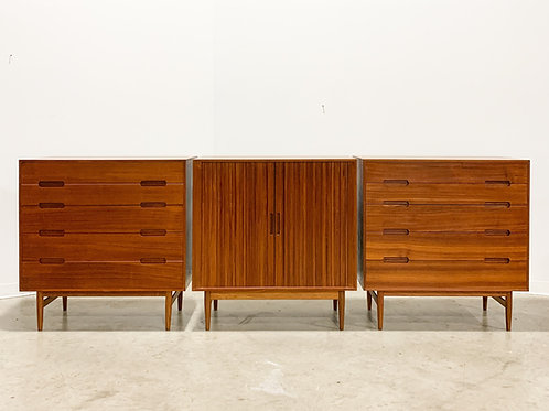 Rare Johannes Aasbjerg dresser and tambour cabinet set