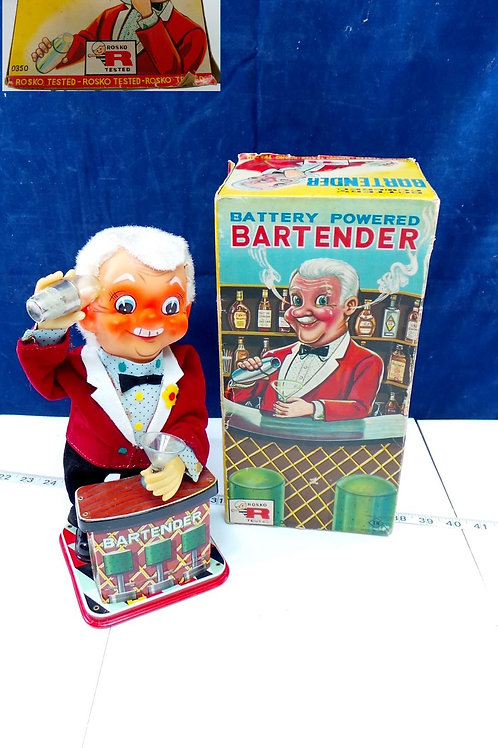 1950s Mechanical Tin Toy Bartender Battery Powered