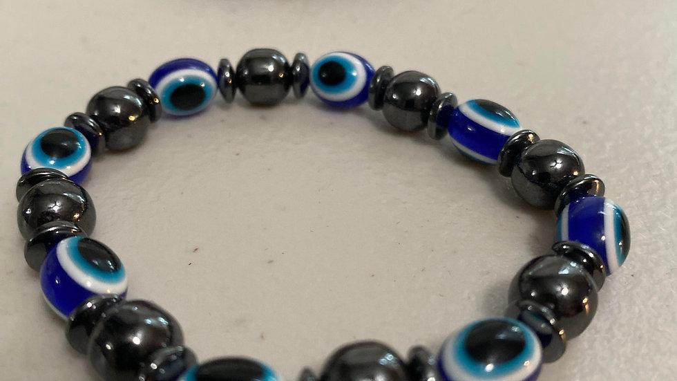 Evil eye hematite bracelet for protection