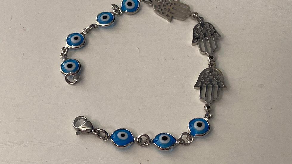 hamsa and glass bracelet