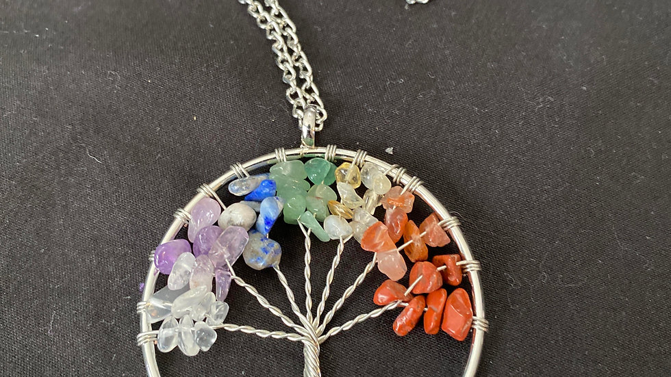 Tree of life with natural crystal necklace