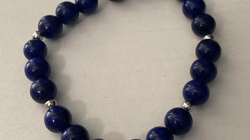 Blue agate stone bead bracelet