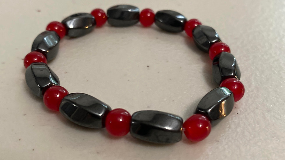 Red Jade and hematite magnetic protection bracelet