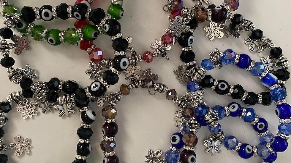 Butterfly and glass evil eye bracelets