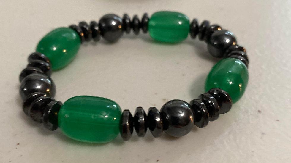 Green averturineand hematite magnetic protection bracelet