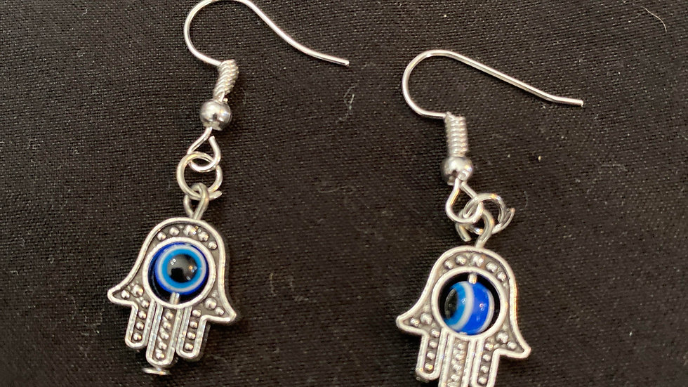 Hamsa evil eye earrings