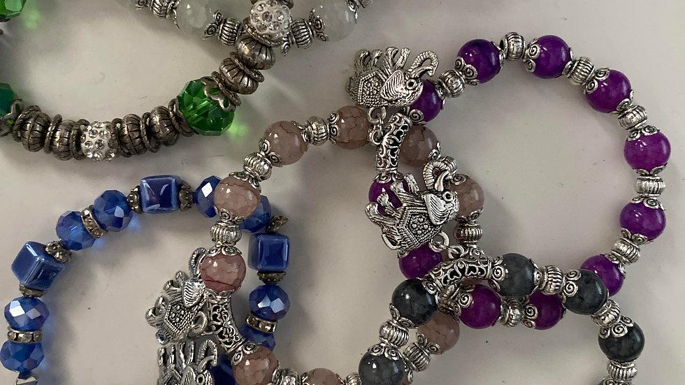 Elephant and glass bead protection bracelet