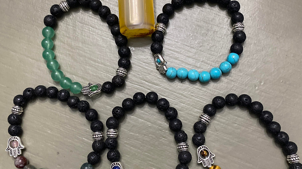 Lava stone & natural crystals with intention oil