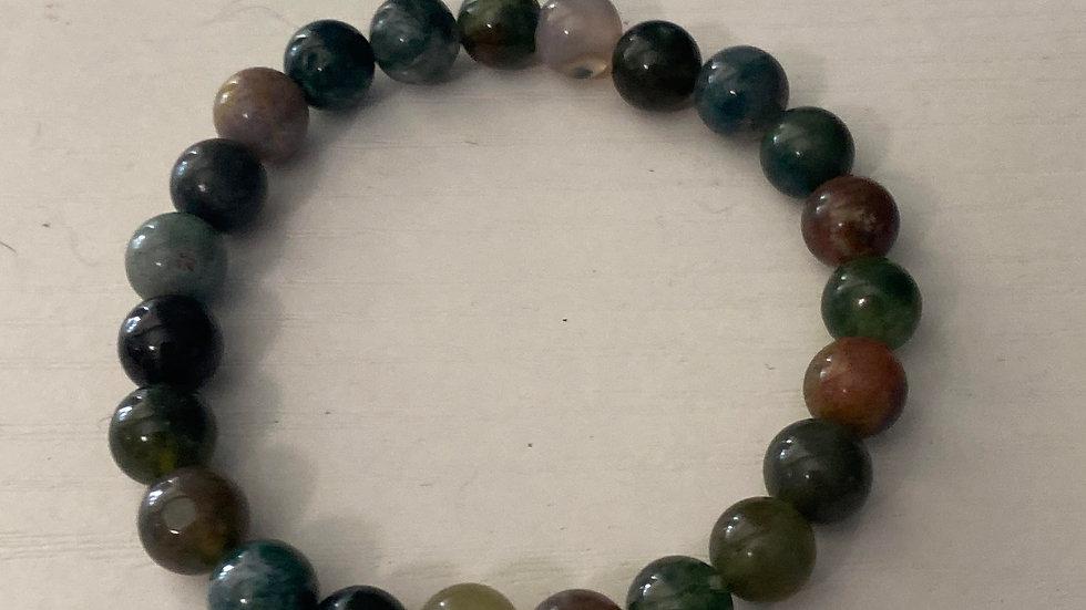 Indian agate stone bead bracelet