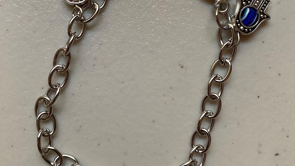 Stainless steel evil eye protection bracelet
